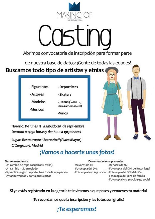 Anuncios de castings de canales de television en España Madrid ...